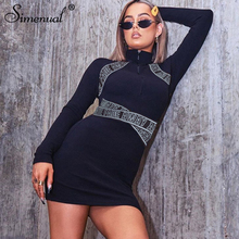 Simenual Letter Print Women Bodycon Dress Long Sleeve Zipper Ribbed Fashion Mini Dresses Autumn 2019 Black Skinny Slim Dress Hot цена 2017