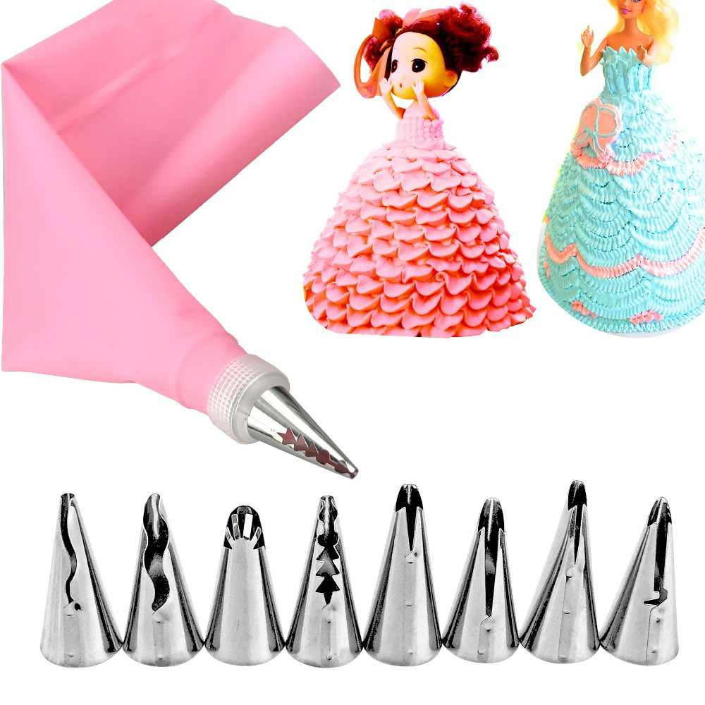 10pcs/set Wedding Cake Decorating Icing Stainless Steel Russian Nozzles Skirt Cake Nozzles Piping Tips Pastry Silicone Cake Bags