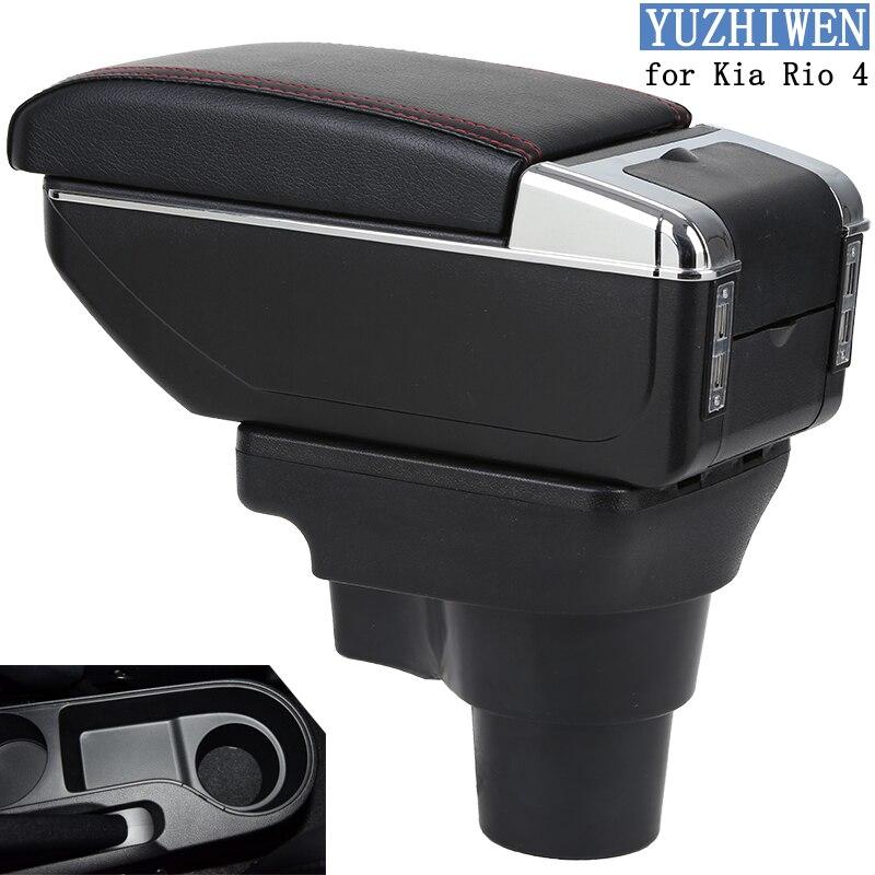 For Kia Rio Armrest Box Rio 4 X-Line Armrest Car Central Armrest Storage Box Cup Holder Ashtray Modification Accessories