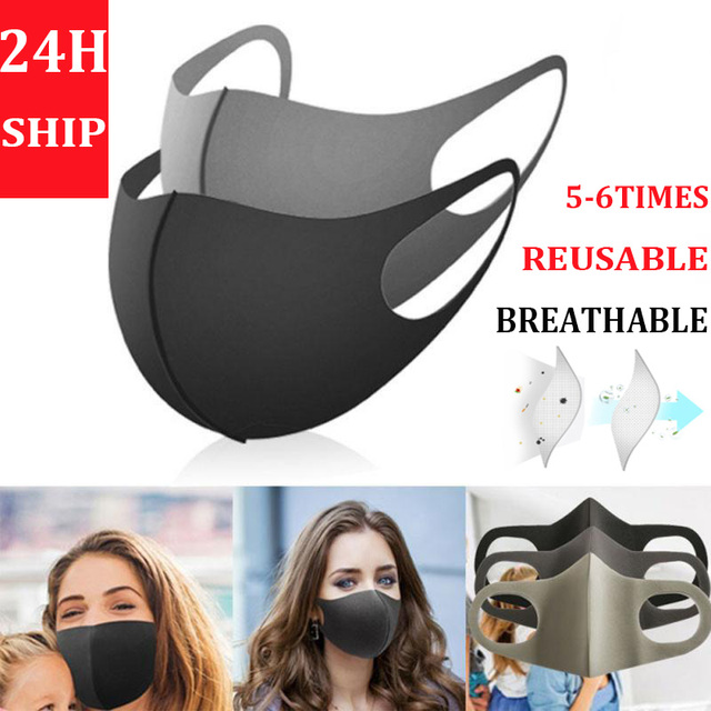 In Stock Face Mouth Mask Anti Dust Mask Filter Windproof Mouth-muffle Bacteria Proof Flu Face Masks Breathable Reusable Washable