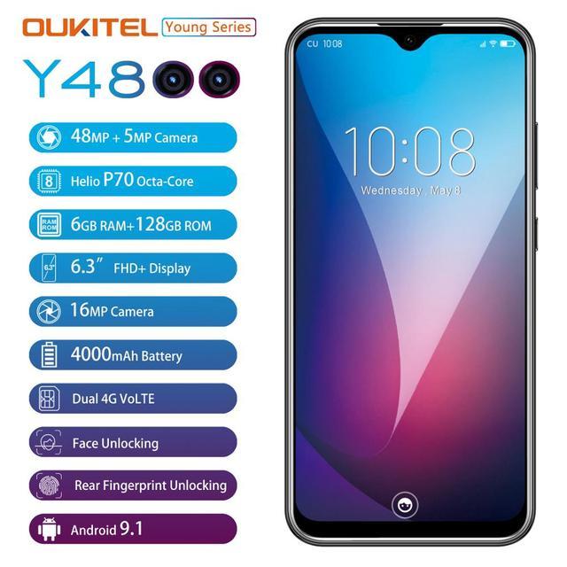 "6G Ram 128G Rom Oukitel Y4800 Smartphone Android 9.0 6.3 ""19.5:9 Fhd Octa Core Mobiele Telefoon Id Vingerafdruk 4000Mah 9V/2A"