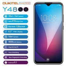 "OUKITEL Smartphone Y4800, 6G RAM, 128G ROM, Android 9,0, 6,3 "", 19,5: 9 FHD, Octa Core, reconocimiento de huella dactilar, 4000mAh, 9V/2A"