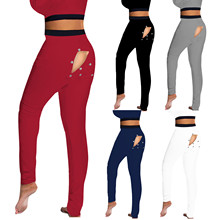 Women's Fashion Casual Pajamas Solid Functional Button Flip Adult Pants Leggings Ropa Mujer #T1G