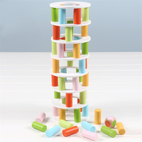 Wooden Toys Wooden Blocks Leaning Tower of Pisa Game Toy Family/Party Funny Extract Building Blocks Ludo Game