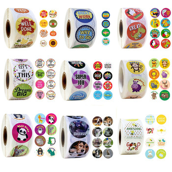 500 Pcs/roll Cartoon Animals Stickers with Cute Reward for Journal Scrapbooking Teacher Encouragement - discount item  26% OFF Stationery Sticker