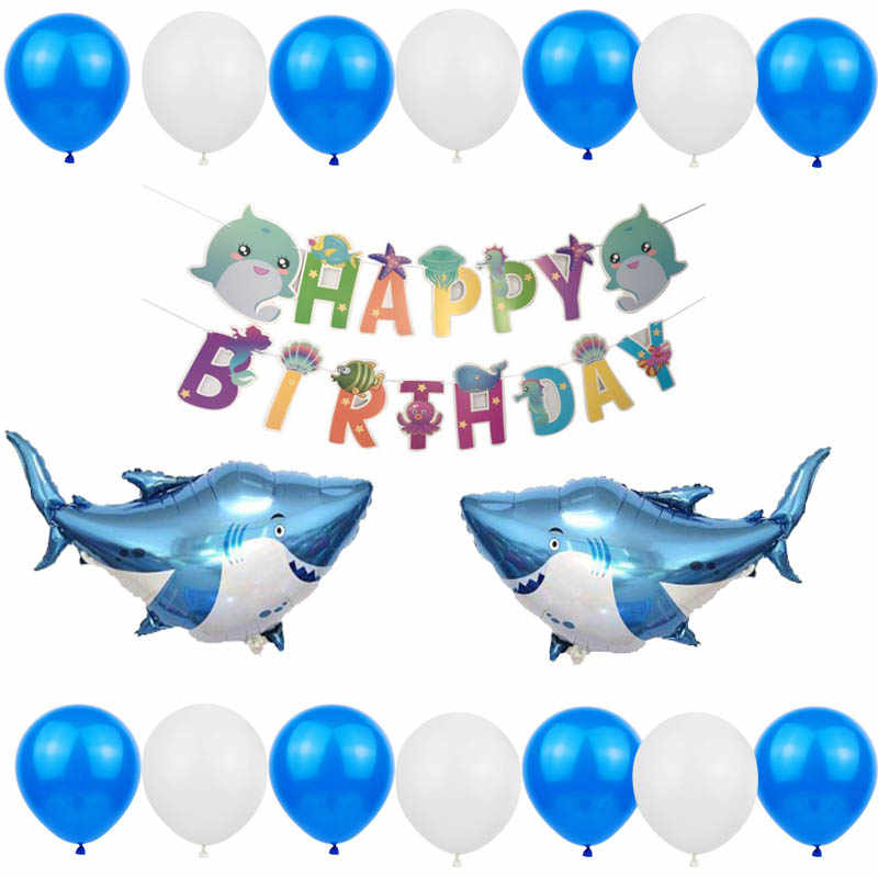 Under The Sea Party Supplies Marine Animals Balloon with Happy Birthday Banners Decor for 1st Kids Baby Shower XDDIAS Boys Girls Ocean Themed Birthday Party Decorations