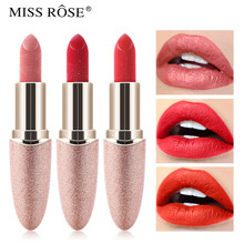 Miss Rose Brand New Matte Shimmer Lipstick Waterproof Velvet Long Lasting Women Gift Lip Makeup Pigment Tint Glitter Cosmetics