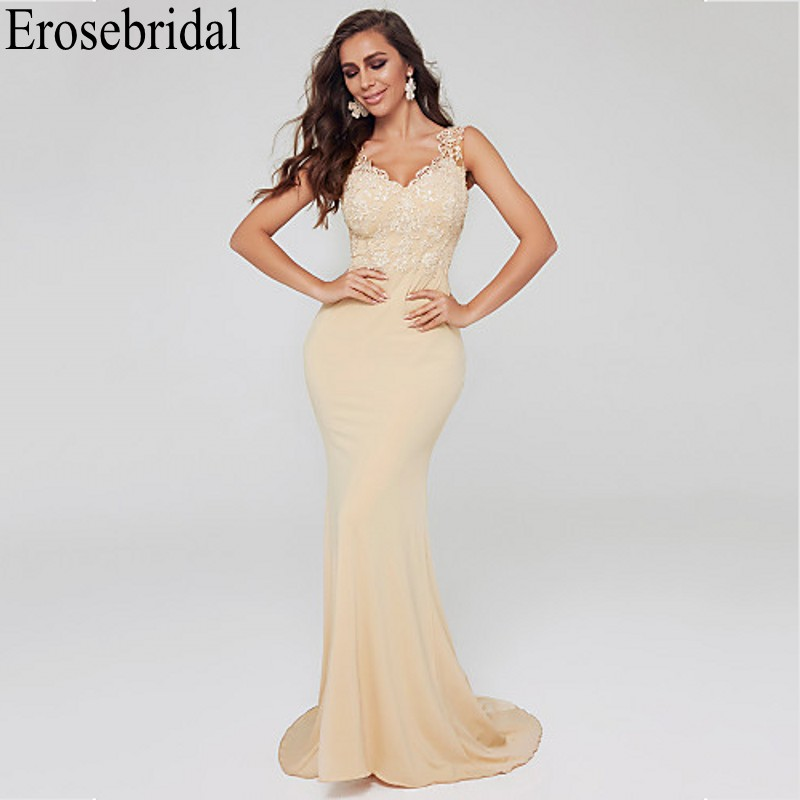 Erosebridal Elegant Formal Dress With Train Lace Evening Dress Long 2019 Little Mermaid Dress Evening Gowns Robe Soiree