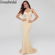Erosebridal elegante vestido Formal con tren de encaje vestido de noche largo 2019 vestido de La Sirenita vestidos de noche bata soiree