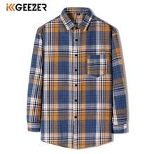 Tuxedo Shirt Pocket Slim-Fit Oversize Long-Sleeve Streetwear Plaid Male Plus-Size Casual