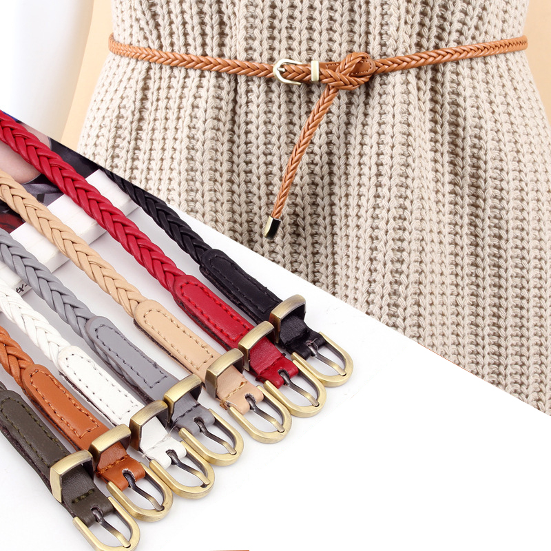 Vintage Thin Belt Hand-woven Alloy Gold Pin Buckle Belt Women Wild Waist Rope Multicolor Adjustable Waistband