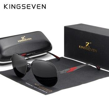 Мужские солнцезащитные очки-авиаторы в алюминиевой оправе KINGSEVEN