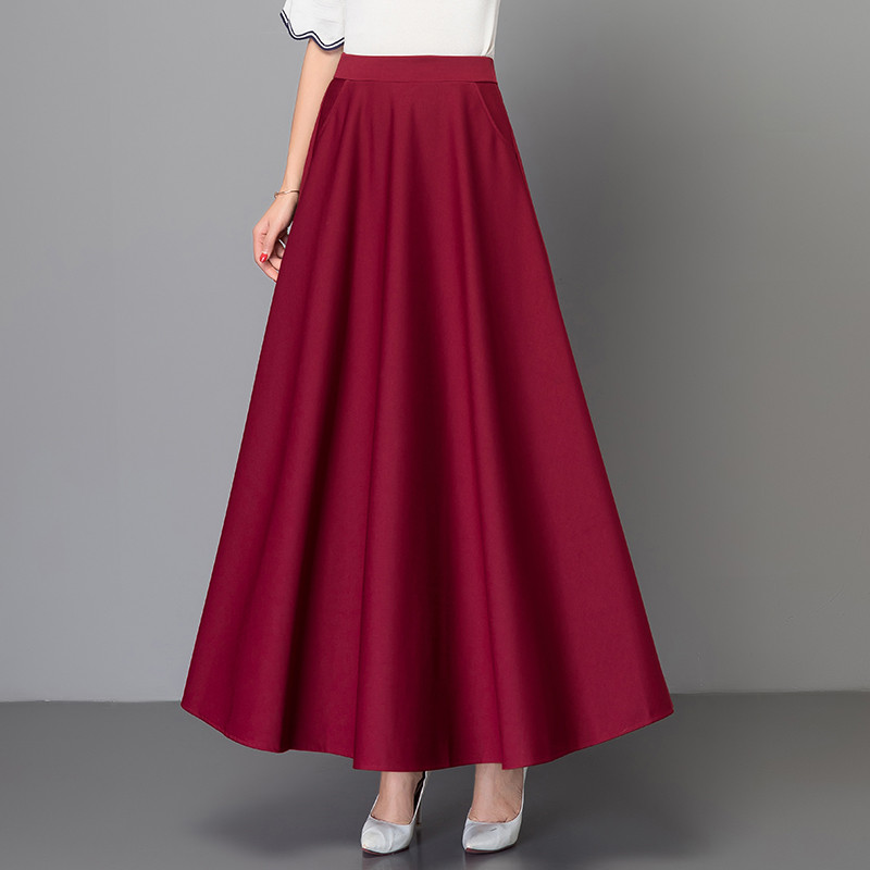 Elegant Plus Size 3xl Pleated Skirt Korean Red Black Solid Color Long Skirts Women High Waist Vintage Big Swing Office Maxi Saia image