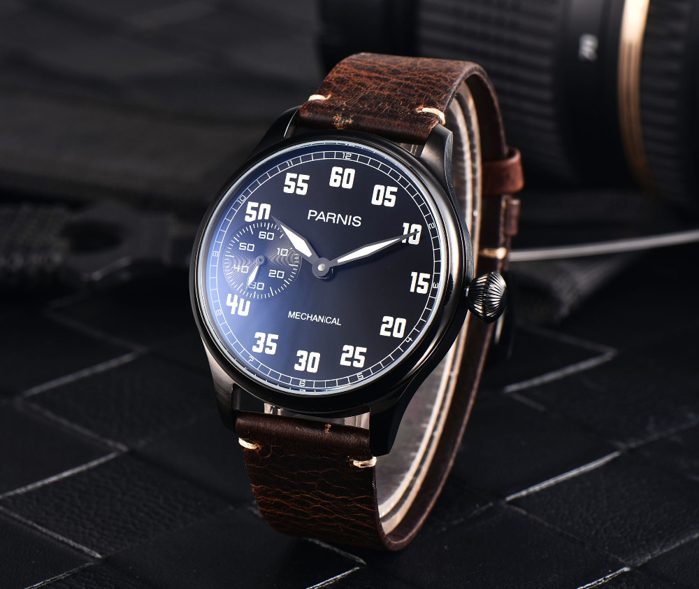 PARNIS 44mm Hand Winding PVD Simple Men Wristwatch 6497 Movement Leather Strap