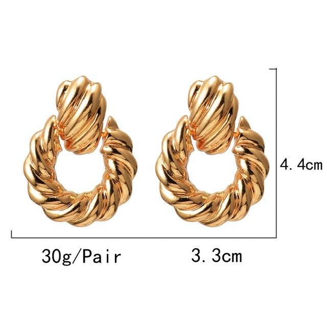 Gold Metal Drop Earrings  6