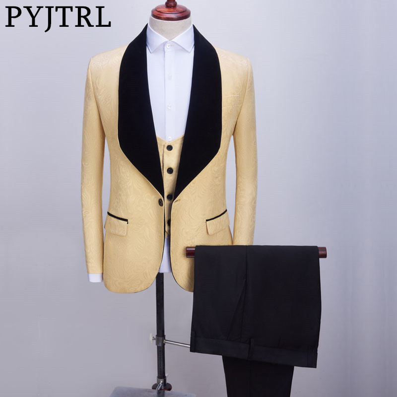 PYJTRL Mens Shawl Lapel 3 Pieces Beige Dark Yellow Wedding Groom Suits Jacquard Banquet Prom Slim Tuxedo Jacket Vest Pants