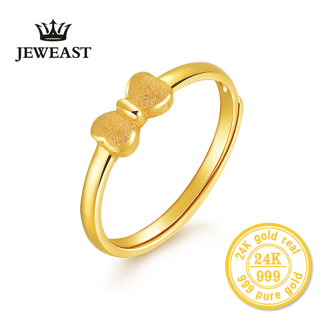 XXX 24K Gold Ring Pure Real Pattern Exquisite Fine Jewelry Resizable Design Fashion Female New Hot Sale 999 Trendy Party Women