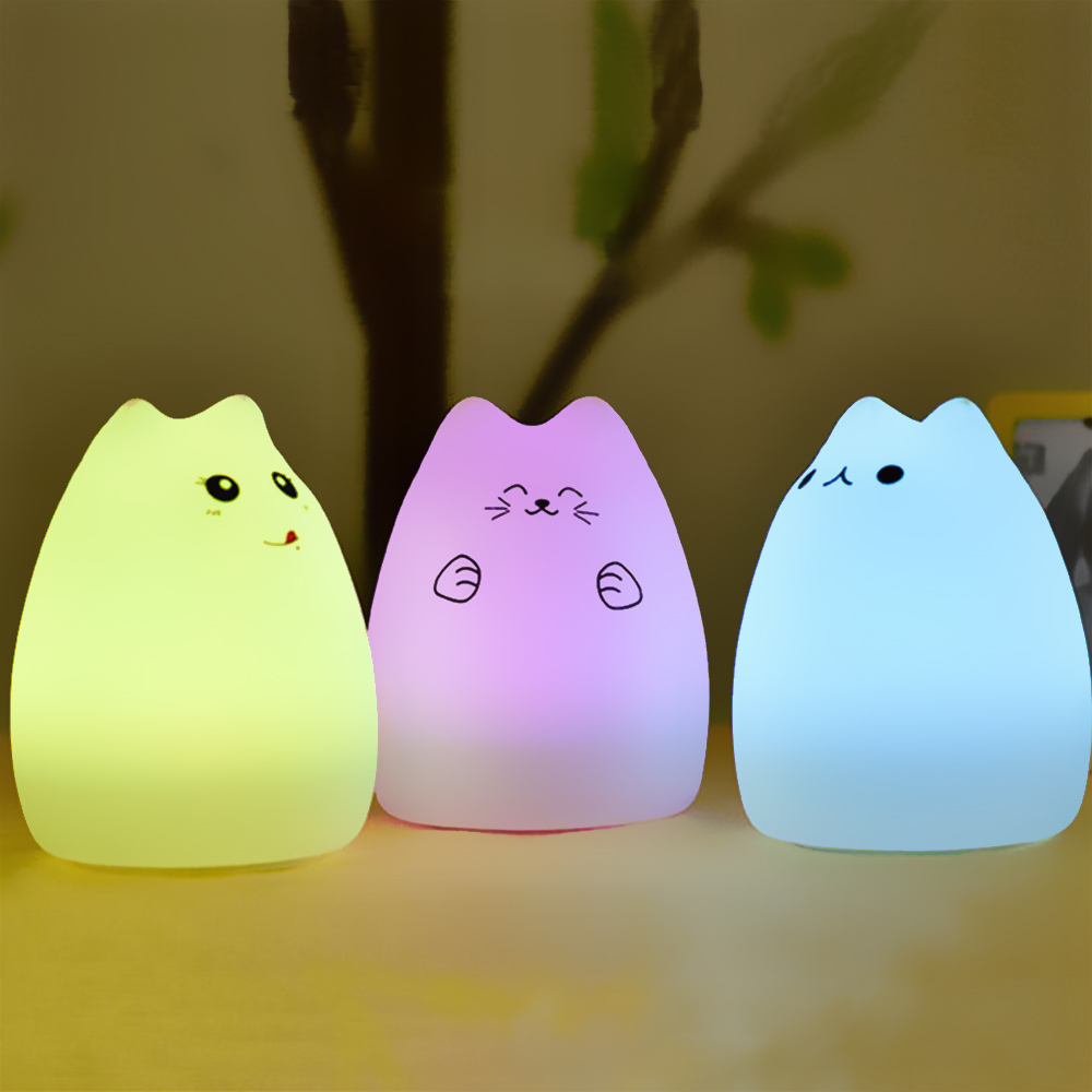 Remote Control Cat Shape Silicone LED Night Light Colourful Creative Rechargable Night Lamp For Home Decor