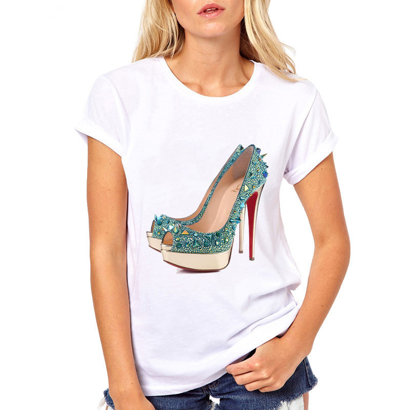 Lus Los New Fashion High Heels Graphic Print Funny Summer T Shirt Women Vogue Princess Casual Short Sleeve Cheap Female Tees