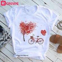 T-shirt femme, estival et à la mode, avec motif de cœur et de fleur, pour la saint-valentin, Style coréen, hauts ajuku