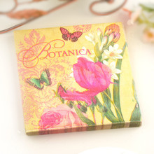 60pcs Pink Flower Butterfly Pattern Decoupage Napkin Paper Tissue for Xmas Wedding Decoration Tableware