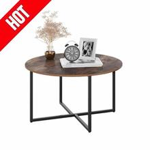 Metal Frame Tea Table Coffee Table Wooden Round Magazine Snack Big Table Movable Bedroom Living Room Furniture Supplies HWC