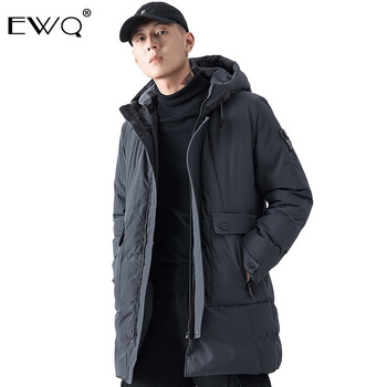 EWQ / Men's Wear 2019 Winter Cotton Clothing For Male Thickening Keep Warm Cotton-padded Casual Trend Long Coat With Hat 9Y0078