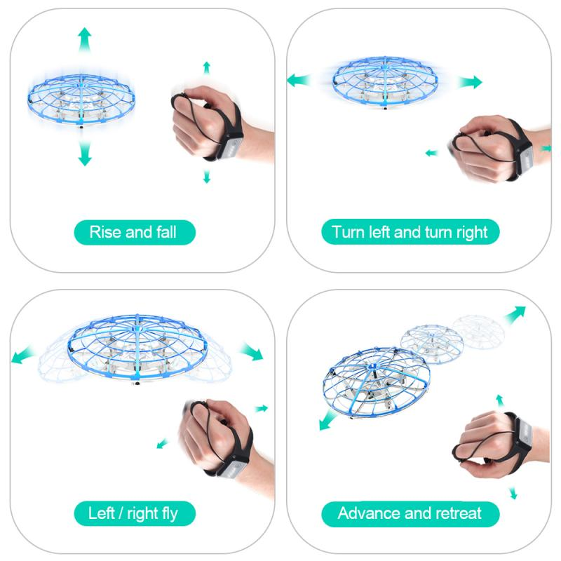 Magic Hand UFO Anti-collision UFO Flying Aircraft Drone Toys Remote Control Flying Infrared Induction Control for Xmas Birthday