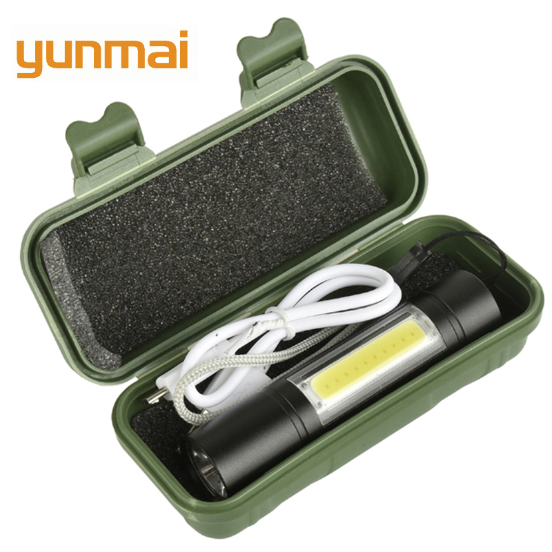 2000LM Mini COB LED Flashlight 3 Lighting Mode Waterproof USB Rechargeable Torch Stylish Portable For Night Lighting Camping