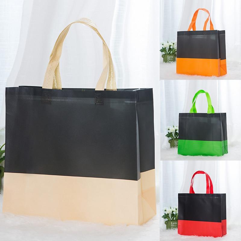 Environmental Storage Bag Handbag Foldable Shopping Bags Reusable Folding Grocery Nylon Tote Bag Hit Colors