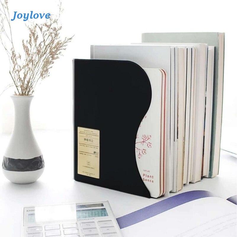 JOYLOVE 1 Pcs Metal Adjustable Bookshelf Hollow Decorative Book Ends Shelf Holder Stand for Books Organizer Stationery