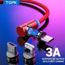 Câble USB magnétique TOPK 3A câble USB de charge rapide de Type C pour iPhone Samsung Xiaomi câble Micro USB de Type L