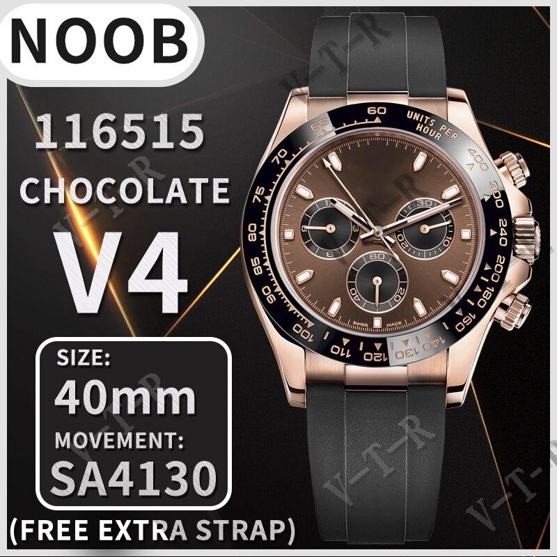 Мужские механические часы 40 мм Daytona 116515 Noob 1:1 лучшее издание циферблат шоколада 18K розовое золото черный резиновый ремешок SA4130 V401