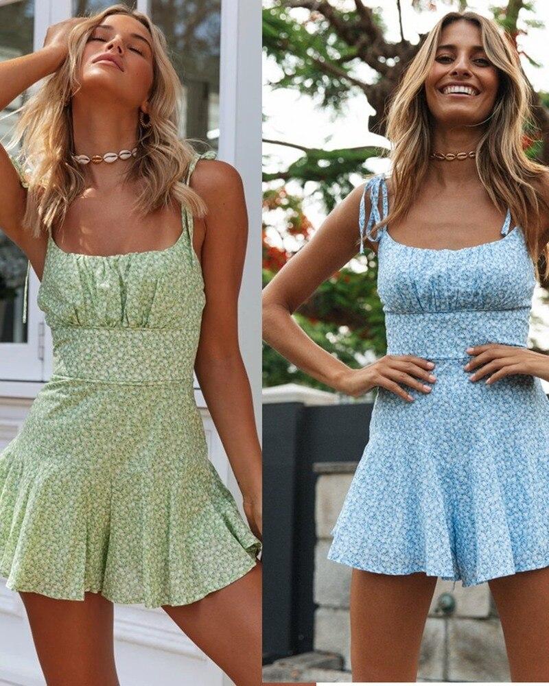 2020 Summer Women Fashion Sexy Printing Jumpsuits Femme Sweet Spaghetti Strap Bodaysuit Girl Jumpsuits