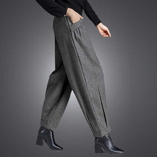 Warm Spring 2020 Wool Wide Leg Pants For Women Loose Harem Pants Women's Office Trousers Woman High Waist Pants Lady 887B