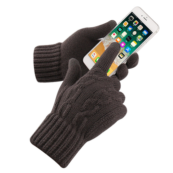 Men's Cashmere Knitted Winter Gloves Cashmere Autumn Winter Warm Thick Gloves Touch Screen Skiing Gloves Black Work Gloves image