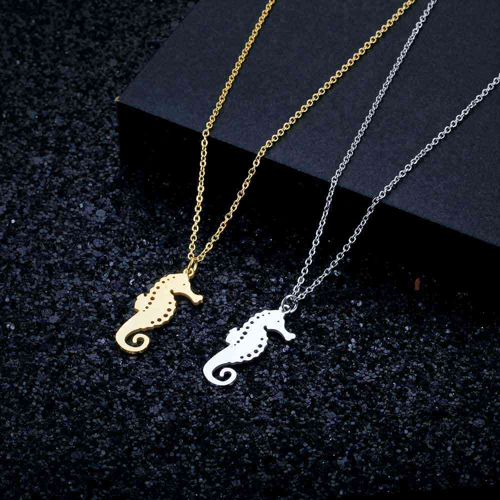 100% Stainless Steel Sea Horse  Fashion Necklace for Women Personality Jewellery Special Gift Wholesale Female Trendy Jewelry