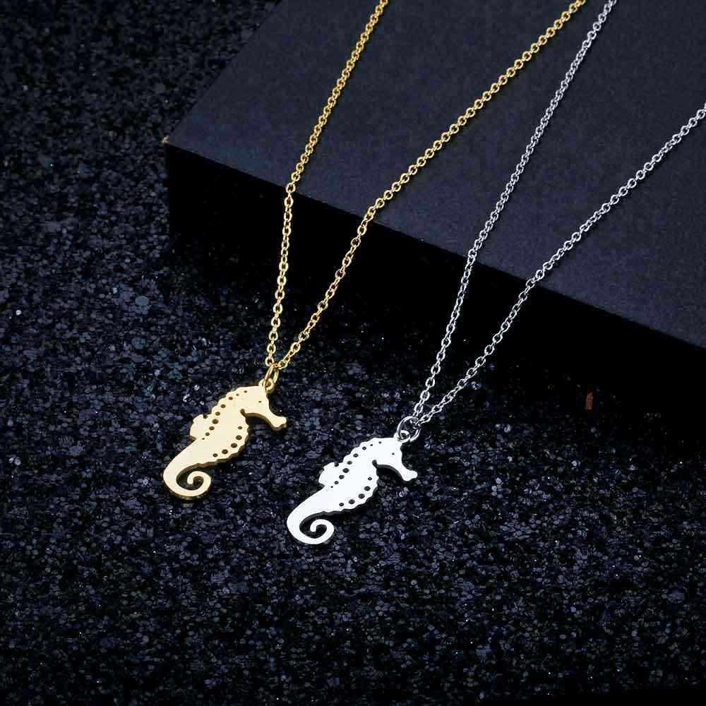 100% ze stali nierdzewnej Sea Horse moda naszyjnik dla kobiet osobowość biżuteria specjalny prezent hurtowych kobiet Trendy biżuteria