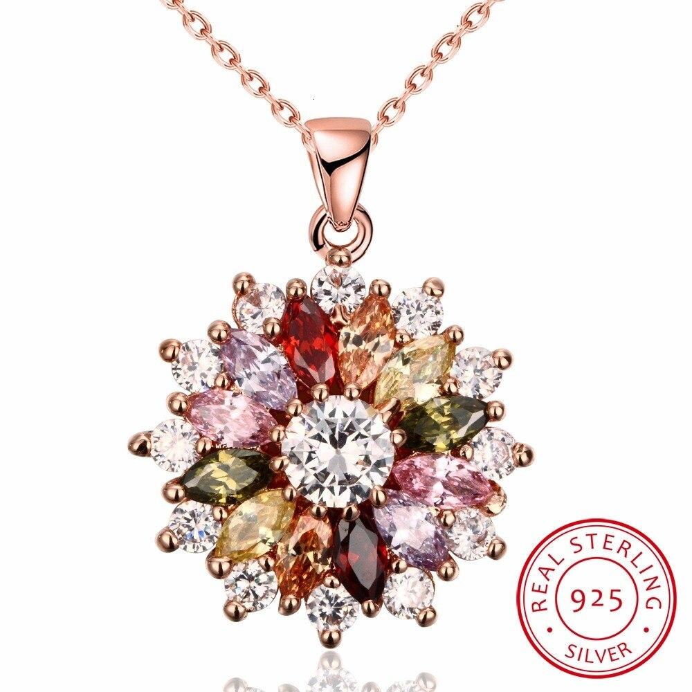 2019 New Luxury Brand Fashion Jewelry Crystal From Swarovski Mona Lisa Colored Zircon Pendant Round Flower Moon Round Necklace