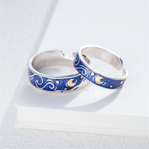 Adjustable Rings Couple Gogh Starry Women Lover's Jewelry Moon for Real-Price Night-Van