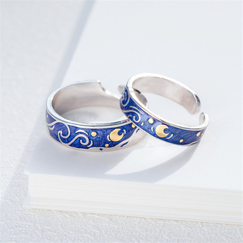 Moon Star Starry Night Van Gogh Adjustable Rings For Couple Lover's 925 Silver
