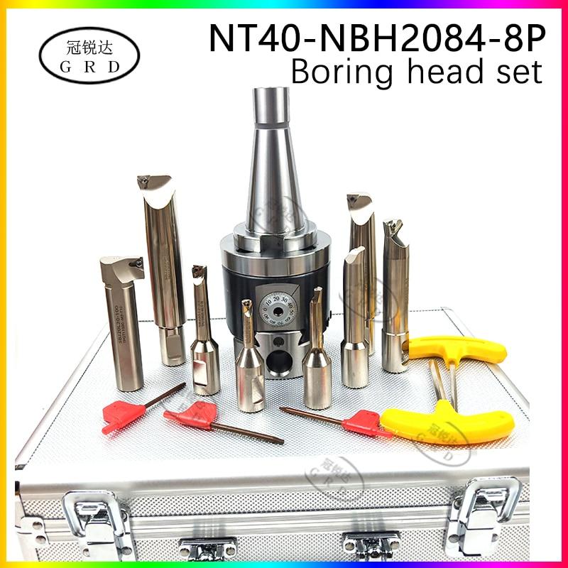 Boring-tool-suit NBH2084 Fine Boring Head NT40 Tool Holder + 8pcs 20mm Boring Bar Boring Rang 8-280mm Boring Tool Set
