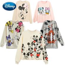 Disney bluzy Minnie Mickey Mouse kaczor Donald Dumbo alicja w krainie czarów nadruk kreskówkowy kobiety O-Neck sweter z długim rękawem Top tanie tanio COTTON POLIESTER CN (pochodzenie) Na wiosnę jesień Drukowanie Wisząca na ramionach Pełne Wiosna 2021 STANDARD 500g Swetry