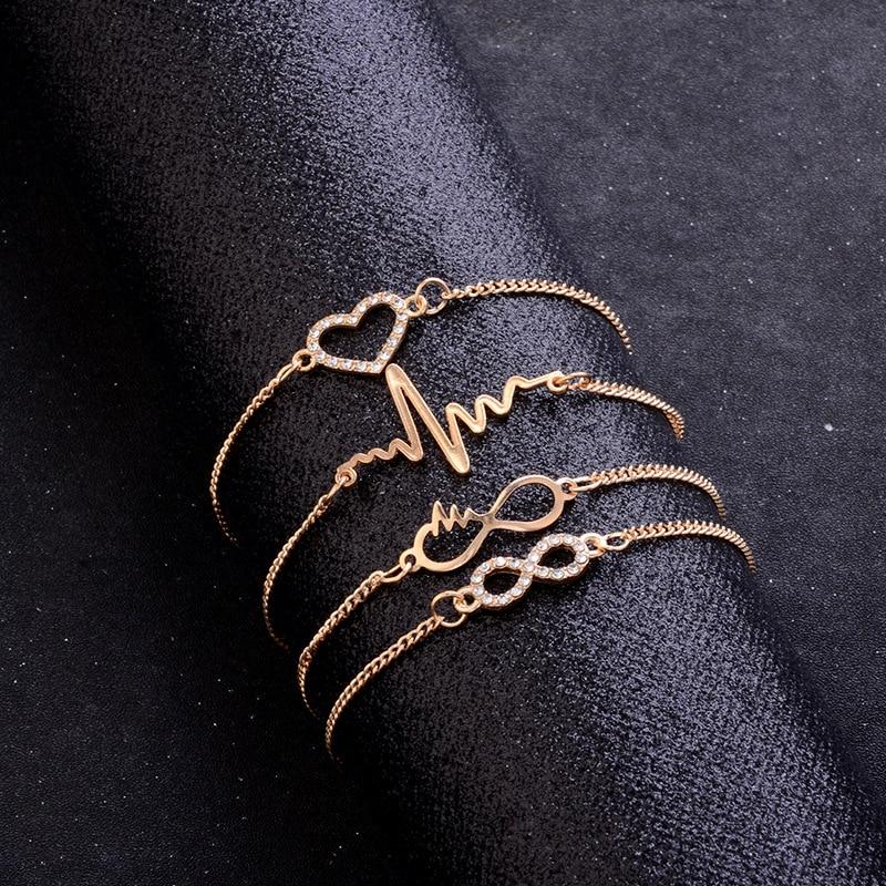 Sindlan 4PCs Crystal Heart Infinity Bracelets for Women Gold Heartbeat Charm Wrist Chain Set Kpop Fashion Hand Jewelry Pulsera