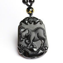 Natural Black Obsidian Beads Necklace Hand-Carved Zodiac Cattle Jade Pendant Charm Jewelry for Man Women Auspicious Amulet Gifts(China)