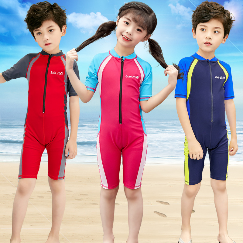 2019 BOY'S Swimsuit New Style One-piece Swimwear KID'S Swimwear Boy Baby Short Sleeve Tour Bathing Suit