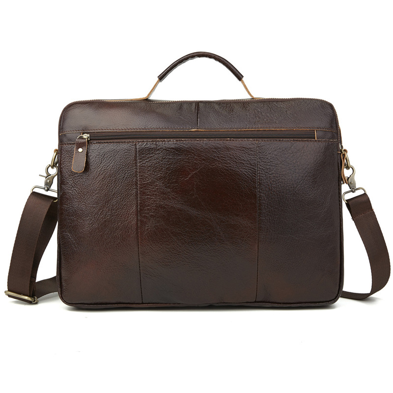Foreign Trade Leather MEN'S Bag Handbag Multi-Layer Zipper Men's Briefcase Oil Wax Leather Shoulder Bag