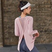 Spor uzun kollu üstleri spor kadın uzun kollu geri Yoga gömlek gevşek ters örtü Activewear egzersiz t shirt fitness giysileri