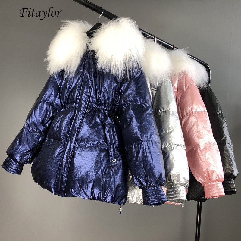 Fitaylor Winter Down Coat Loose Bread Overcoat Snow Large Natural Fur Collar Silver Bright White Duck Down Parkas Thick Outwear