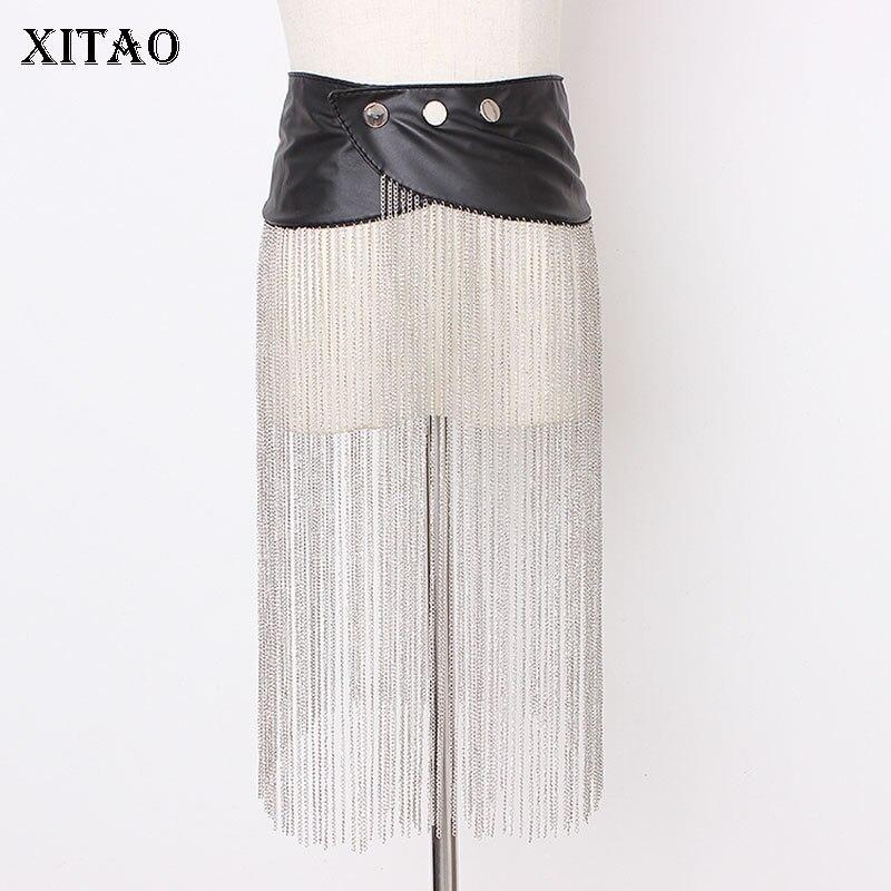 XITAO Tide Cortex Patchwork Tassel Cummerbund Sexy Irregular Decoration 2019 Autumn New Women Fashionable Individuality GCC1404